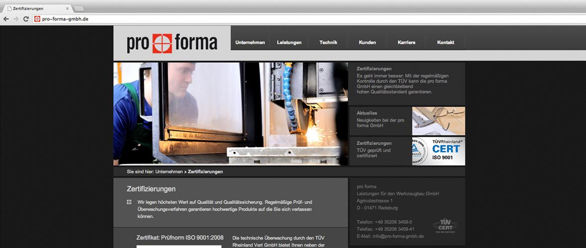 pro forma Webseite